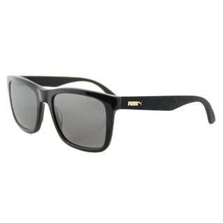 Puma PU 0040S 002 Suede Shiny Black Plastic Rectangle Grey Lens Sunglasses