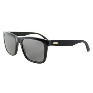Puma PU 0040S 002 Suede Shiny Black Plastic Rectangle Grey Lens Sunglasses