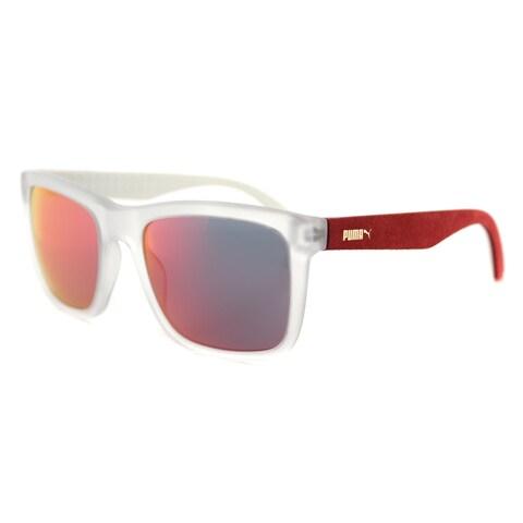 Puma PU 0040S 008 Suede Matte Grey Red Plastic Rectangle Red Mirror Lens Sunglasses