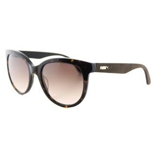 Puma PU 0041S 002 Suede Havana Brown Suede Plastic Round Brown Gradient Lens Sunglasses