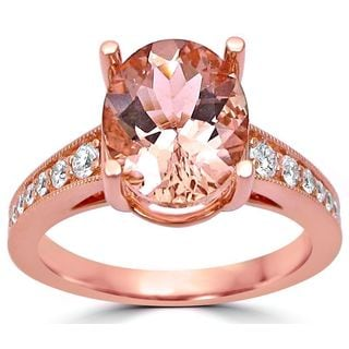 Noori 2 1/2 ct TGW Oval Cut Morganite Diamond Engagement Ring Vintage Style 14k Rose Gold