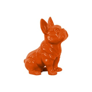 Orange Gloss Finish Ceramic French Bulldog Figurine