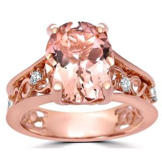 Noori 2 2/5 ct TGW Oval Cut Morganite Diamond Engagement Ring Vintage Style 14k Rose Gold