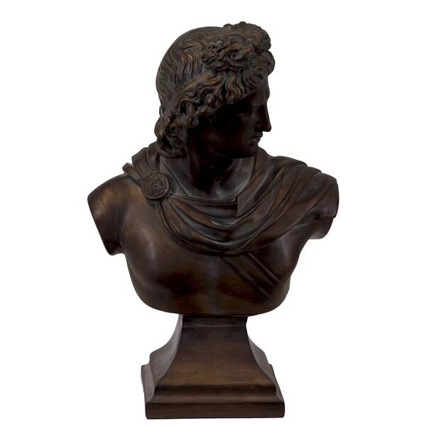 Brown Resin Greek Deity Apollo Bust On A Pedestal