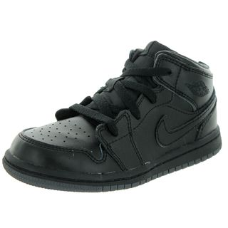Nike Jordan Kids Air Jordan 1 Mid Black/Black/Dark Grey Basketball Shoe