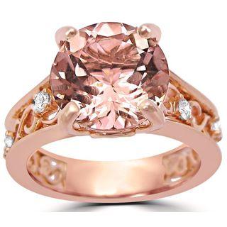 Noori 3 1/6 ct TGW Round Cut Morganite Diamond Engagement Ring Vintage Style 14k Rose Gold