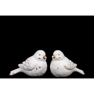 Urban Trends Collection Disdtressed Matte White Ceramic Bird Figurines (Set of 2)