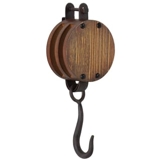 Urban Trends Collection Black Metal/Wood Round Wall Hook and Board