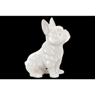 Urban Trends Collection White Gloss-finish Ceramic Sitting French Bulldog Figurine with Pricked Ears