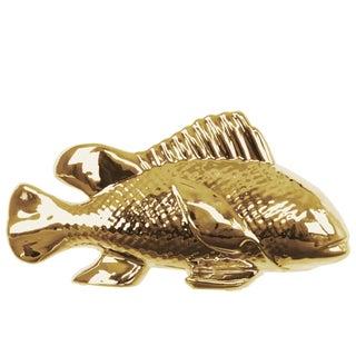 Goldtone Polished Chrome Finish Ceramic Sea Bass Fish Figurine