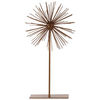 Metal LG Coated Gold Finish Sea Urchin Ornamental Sculpture Decor on Stand