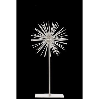 Urban Trends Collection White Metal Sea Urchin Ornamental Sculpture Decor on Stand