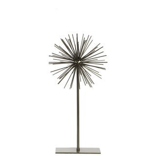 Urban Trends Collection Champagne SM-coated Finish Metal Sea Urchin Ornamental Sculpture Decor on Stand