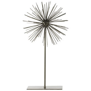 Urban Trends Collection Champagne Metal Sea Urchin Ornamental Sculpture Decor on Stand with LG Coated Finish