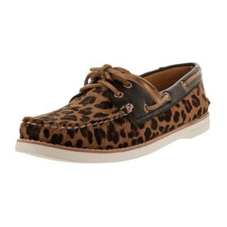Sperry Women's Gold Leopard-print Leather Top-sider Boat Shoe