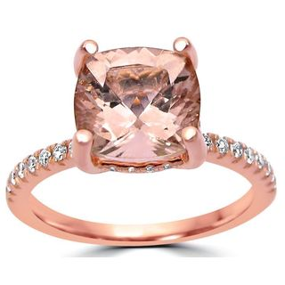 Noori 2 1/3 ct TGW Cushion Cut Morganite Diamond Engagement Ring 14k Rose Gold - White