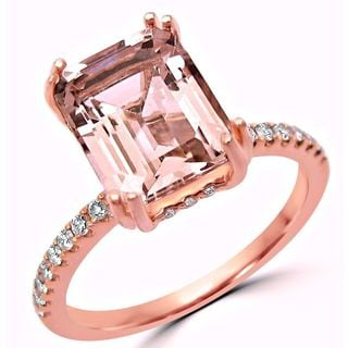 Noori 14k Rose Gold 2 1/3ct TGW Emerald-cut Morganite and 1/3ct TDW Diamond Engagement Ring (G-H, SI1-SI2)