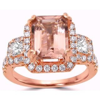 Noori 2 1/3 TGW Emerald Cut Morganite Diamond Engagement Ring 14k Rose Gold