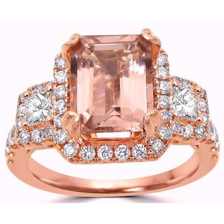 Noori 2 1/3 TGW Emerald Cut Morganite Diamond Engagement Ring 14k Rose Gold