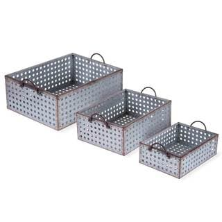 Perforated Galvanized Bins (Set of 3)