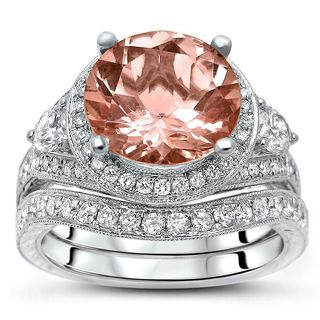 Noori 14k White Gold 4ct TGW Morganite and 1ct TDW Diamond 3-stone Bridal Set (F-G, SI1-SI2)