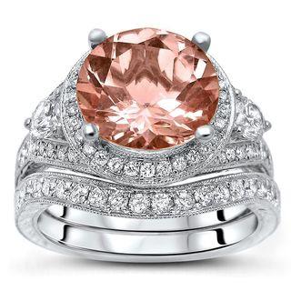 Noori 14k White Gold 4ct TGW Morganite and 1ct TDW Diamond 3-stone Bridal Set (F-G, SI1-SI2)