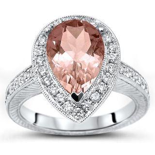 Noori 2 ct TGW Morganite Diamond Pear Shape Engagement Ring 14k Gold