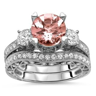 Noori 3ct TGW Morganite Round Diamond 3 Stone Engagement Ring Set 18k Gold