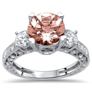Noori 2 1/2ct TGW Morganite Round Diamond 3 Stone Engagement Ring 18k Gold