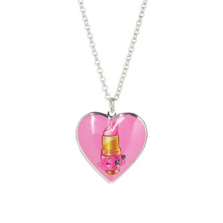 Shopkins Children's Lippy Lips Heart Locket Pendant, 18 inches (16 inches with 2-inch Extension)