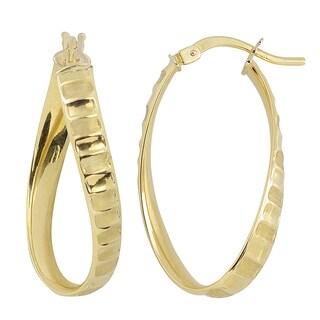 Fremada Italian 14k Yellow Gold Twist Oval Hoop Earrings