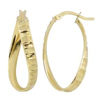 Fremada Italian 14k Yellow Gold Twist Oval Hoop Earrings