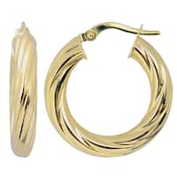 Fremada Italian 14k Yellow Gold Twist Design Hoop Earrings
