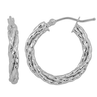Fremada Italian 14k White Gold 3x15-mm Braided Round Hoop Earrings