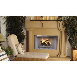 WRE3036 42-inch Stainless Steel Outdoor Superior Wood Burning Fireplace with White Stack Brick