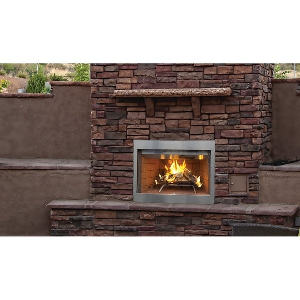 WRE3036 36-inch Stainless Steel Outdoor Superior Wood Burning Fireplace with White Stack Brick