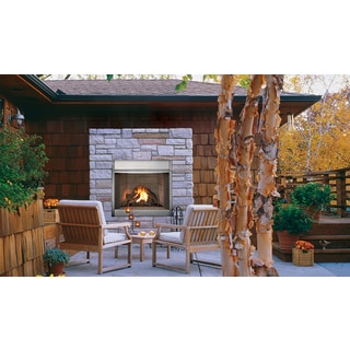 VRE4300 36-inch Stainless Steel Outdoor Superior Vent Free Fireplace with White Stack Brick