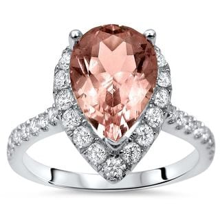 Noori 2 1/10ct TGW Pear Morganite Diamond Engagement Ring 18k White Gold