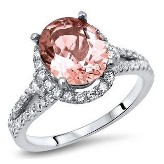 Noori 2 1/4 TGW Oval Morganite Diamond Engagement Ring 18k White Gold