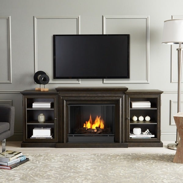 shop frederick grey gel fireplace entertainment center by real flame rh overstock com Gel Fuel Fireplace Entertainment Center Wall Entertainment Centers with Fireplace