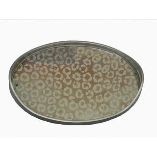 Metallic Silver/Taupe Glass/Wood 18-inch x 12-inch Mirror Oval Leopard Tray