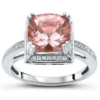 Noori 14k White Gold 2ct TGW Cushion Morganite and 1/6ct TDW Diamond Engagement Ring (H-I, I1-I2)