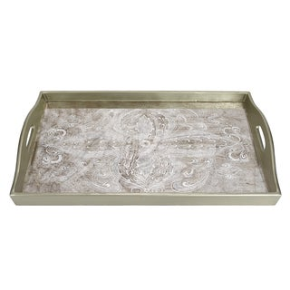 Manta Silvertone Glass and Wood Rectangle Tray