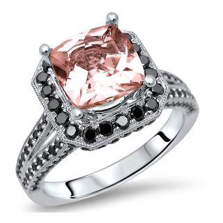 Noori 14k White Gold 2 3/4ct TGW Morganite and 1ct TDW Black Diamond Engagement Ring (SI1-SI2)