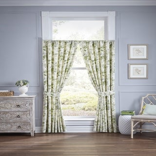 Waverly Fleuretta Blue Cotton Curtain Panel Pair