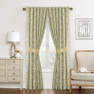 Waverly Paisley Cotton 50-inch Verveine Curtain Panel Pair