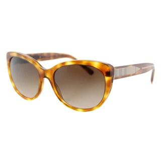 Burberry BE 4224 305413 Light Havana Plastic Cat-Eye Brown Gradient Lens Sunglasses
