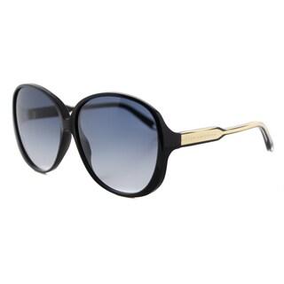 Victoria Beckham VBS 102 C03 Large Fine Oval Black Plastic Round Grey Gradient Zeiss Lens Sunglasses