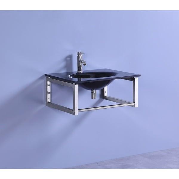 Shop Legion Furniture 24 Inch Black Tempered Glass Modern
