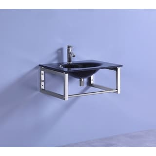 Legion Furniture 24-inch Black Tempered Glass Modern Bathroom Wall Mount Vessel Sink Top